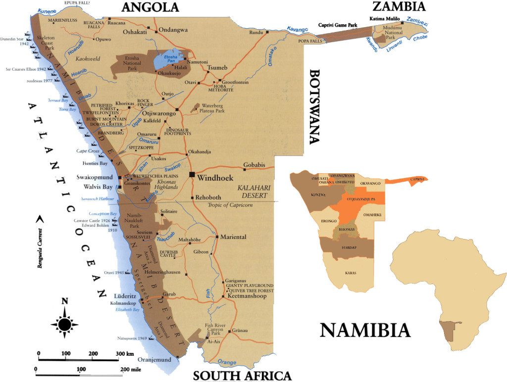 4x4 rental map of namibia